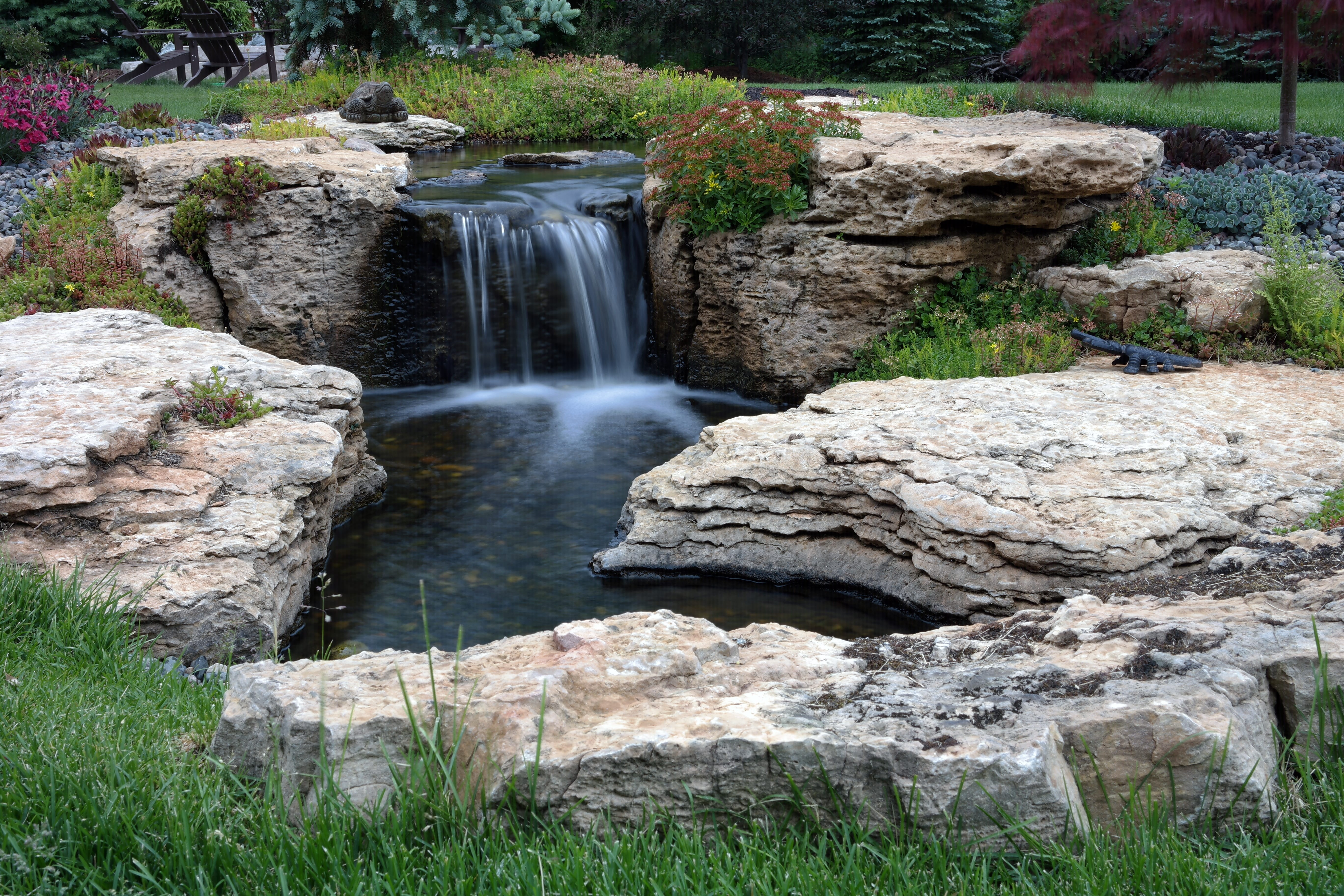 Pondless Water Garden With Large Stone